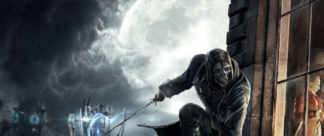 Corvo stands in front of a large full moon, holding out a long blade as he stands firmly on a thin ledge. Inside the orange lit room is well dressed man, not noticing him and to Corvo's left are a series of robots. This is a desktop wallpaper promotional image for Dishonored.