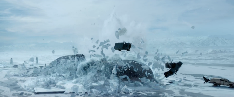 a submarine forcefully expels from the ground, cars and ice throw aside in its upward thrust.