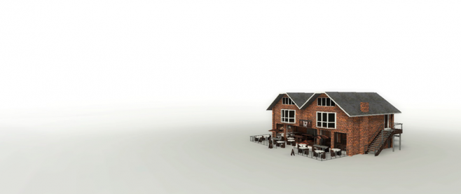 A simple house, set in a blank white world. This is a still from the game the Beginner's Guide