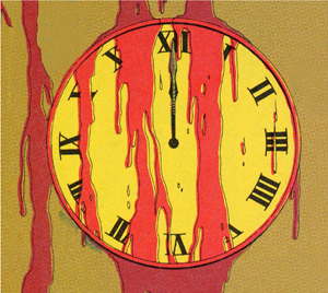 A yellow clock covered in blood