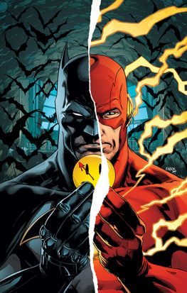 A man split in half holding a watchmen button. One side is Batman and the other is the Flash