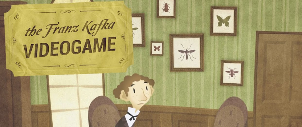 A brown haired man looks up as if in an expectation. Behind him is a green wallpapered room with framed pictures of bugs and a door. Above his left shoulder is a title card that reads The Franz Kafka VideoGame