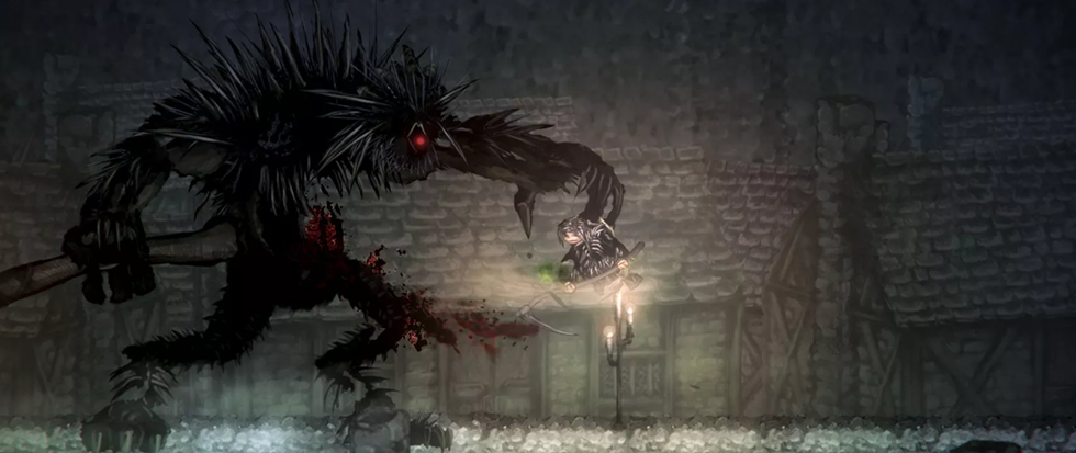 A large monstrous creature that resembles something like a machine from the Matrix crossed with an evil porcupine, clutches down at a much smaller figure in a dimly lit corridor. This is a still from Ska Studios game, Salt and Sanctuary