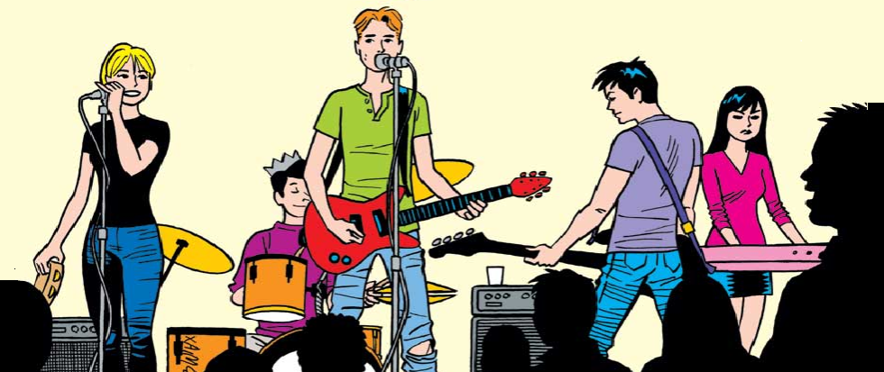 A man in a green shirt is at the mic, with a red guitar slung low on his hips. There are several other band members on the stage. This is a screenshot of the comic The Archies.