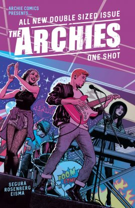 """Archie fronts a band with a red guitar, in the back Betty and Veronia play musical instruments and the text across the top reads """"The Archies"""""""