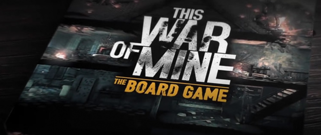 """Close up of the board game box for This War of Mine, which features art from the game and the text """"This War of Mine, the Board Game"""""""