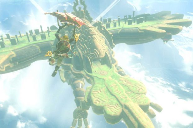 A divine beast, its wings outspread as Link attempts a landing. This is a screenshot from the game Breath of the Wild