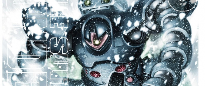 A blue grey robot rising up through shattered white elements. This is the cover from Mobile Suit Gundam