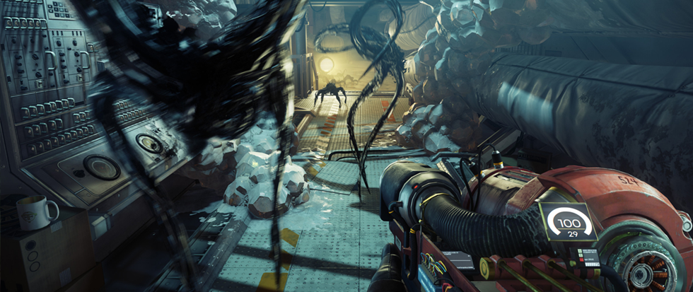 a few long limbed black oil monster mimics crawl through a sci-fi space in this concept art from Prey