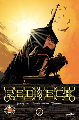 """A steeple of a church, beset by carrion birds and lit from behind by a yellow sun. The text along the bottom reads """"Redneck"""""""
