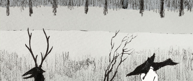 Back cover for Volume 2 of the Girl from the Other Side, Volume 2. It is scratchy black and white illustrations, vaguely woodland-like.