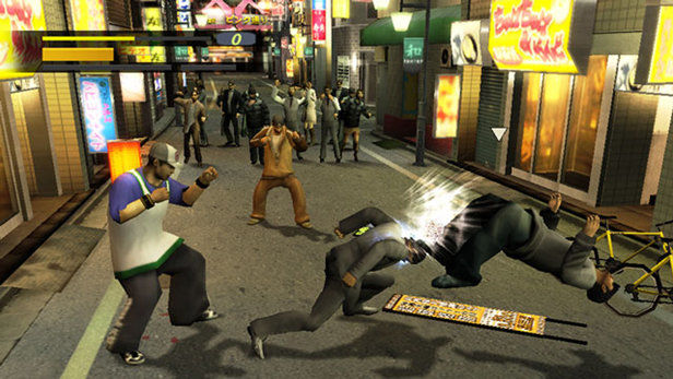 A few people fighting in an alley. This is promotional art from the 2005 game Yakuza
