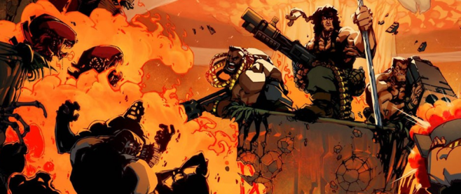 Lit in the orange glow of an explosion, several pixelated action heroes with guns are shown in a heroic pose. This is a promotional image for the game Broforce.