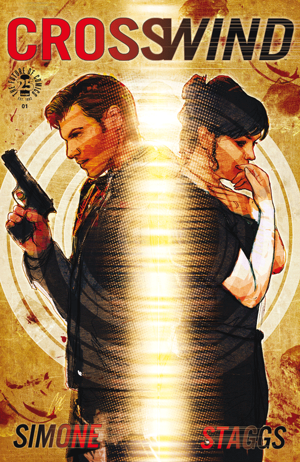 A man with a gun stands back to back with a nervous looking brunette woman. This is the cover for Crosswind #1.