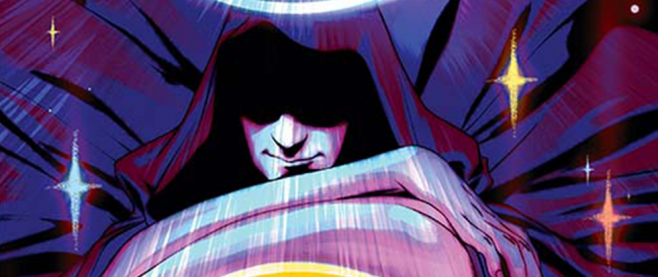 A man in a cape, eyes obscured, arms crossed at the bottom of the frame. This is a cut from the cover of Swordquest.
