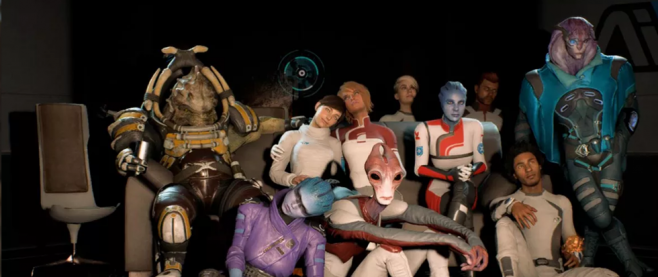 The cast members of the game Mass Effect Andromeda gathering together on a couch.