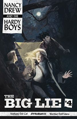 The cover art for Big Lie, a Hardy Boys/Nancy Drew crossover shows the lead characters sneaking around in darkness, illuminated by a streetlamp. The comic cover calls to mind those old Hardy Brothers/Nancy Drew paperbacks with exaggerated expressions and noir elements.