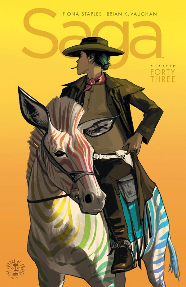"""A woman, in old west garb and with a cigarette in her mouth, looks out into the inky orange backdrop away from the camera. She is riding a multi-colored zebra, each of its stripes in a resplendent rainbow. Above her head is the word """"Saga."""" This is the cover art for Saga 43."""