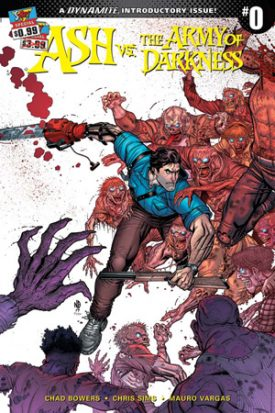 Ash, a strong brunette man with a tight blue shirt and a grin, mows down a group of red zombie like creatures that are all reaching out towards him. In one hand he has a shotgun and in the other he has a chainsaw. This is the cover for Ash and the Army of Darkness