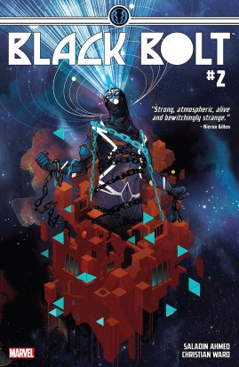 A black clad character rising out of a sea of red cubes, a blue beam coming out of their head. This is the cover of Black Bolt #2.