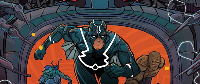 Black Bolt charging toward the camera, his back illuminated by oranges and dark blues. This is art from Black Bolt #2.