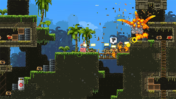 A series of explosions across a pixelated tropical world. This is a still from the game BroForce.