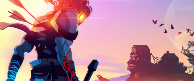 A character, blue muscles rippling under red veiny vambraces, looks out onto an alien plane. This creature has an orange light where a face would be, and it peers down at the camera kind of over a shoulder. This is a promotional image for the game Dead Cells.