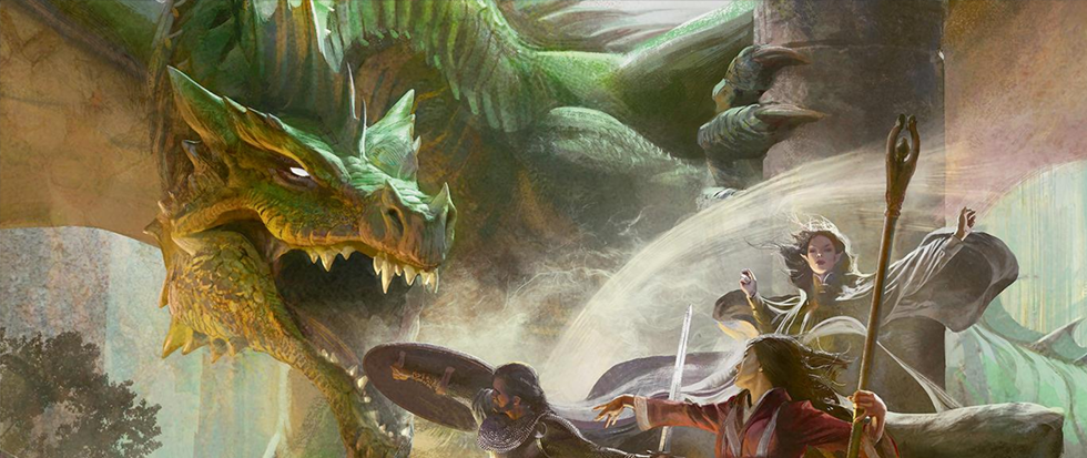 a woman with a staff stands in front of a large green dragon, a man with a shield at her side. This is a promotional image from Dungeons and Dragons.