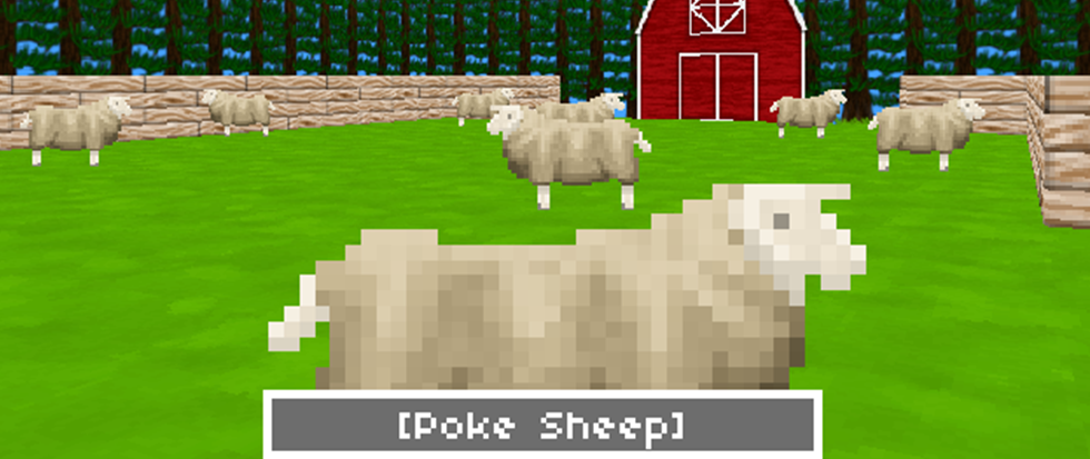 A pixelated graphic sheep, among a field of other sheep and in front of a red barn sided on both sides by a scattering of trees and a rock fence. The text on the bottom of the screen reads: [Poke Sheep]. This is a still from the game Moirai