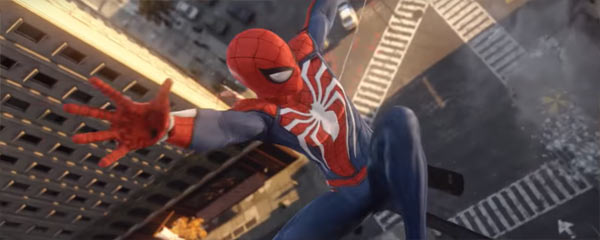 Spiderman falling towards the pavement in an intersection, arms outstretched towards the camera. This is a screenshot from the Insomniac Games Spider-Man game.