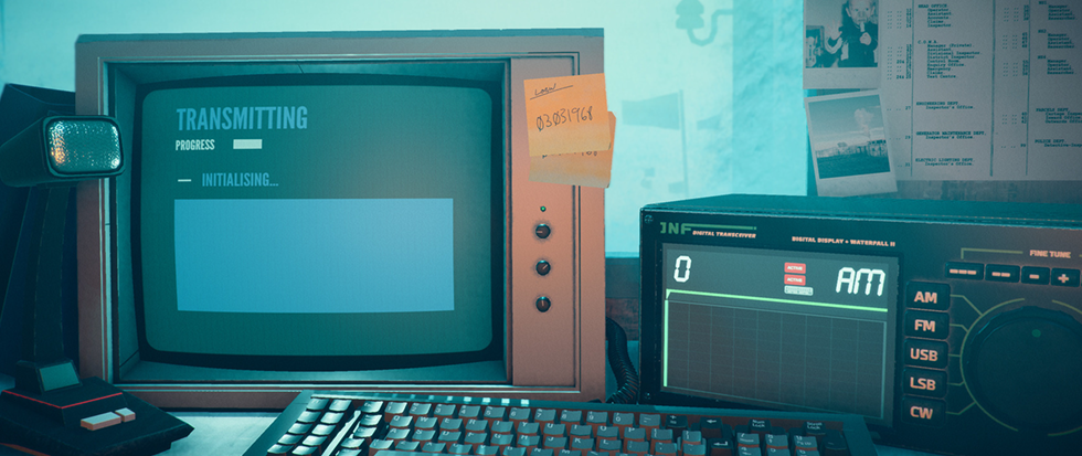 "an old computer (maybe a commodore 64) a radio, and a monitor with a sticky note attached. This is a screenshot from the game ""Stories Untold"""