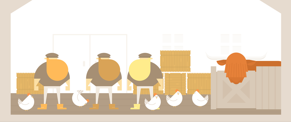 Three very bearded men standing in a barn next to a few chickens, some boxes and a red cow in a pen. This is a still from the game Burly Men at Sea.