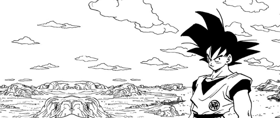 An anime character (Goku?) standing on the edge of a large hand drawn plain.