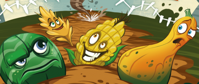 Several vegetables, (some form of squash, corn and a head of lettuce) run from a distance twister. This is the cover art for the game Farmageddon.