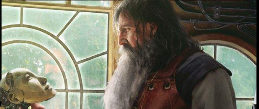 A grizzled man with a beard looks down at a vaguely humanoid toy face near a leaded glass window. This is the card art for the Magic the Gathering Card Feldon.
