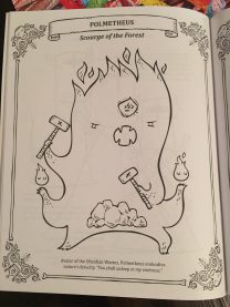 Coloring page from the game By the Order of the Queen. It shows a tiny fire like creature holding a little hammer with his open mouth.