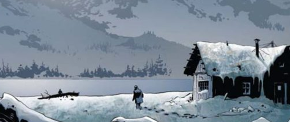 A single cabin, lit in a white snowy plain. This is a screenshot of the comic James Bond Kill Service #1