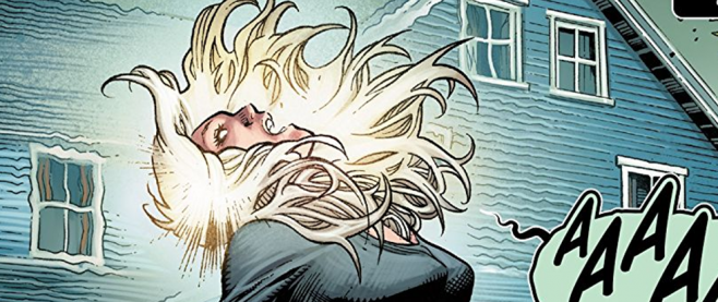 "A woman with her head thrown back. a text bubble comes from her with ""AAAAA"" visible, and her hair is thrown back and floating suspended in the air. This is a screenshot from the Astonishing X-Men #1"