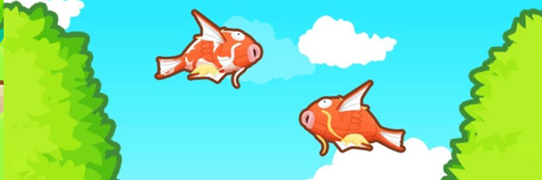 Two Magikarp's (large orange carp like Pokemon) flying towards each other in a bright blue sky, matching green trees behind them.