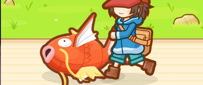 A Magikarp on the ground next to the boots of a blue clad character in a red hat. This is a stlll from the game Magikarp jump.