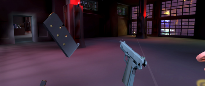 A hovering handguna nd magazine float in front of a non descript open room with a window pointing towards colorful skyscapers. This is a still from the game Receiver.