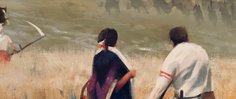 Two people looking away in a watercolor. This is a still from the cover of the board game Scythe.