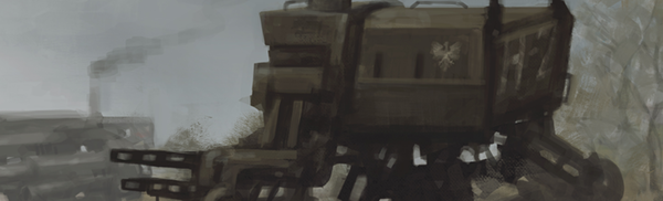 A mechanical beast rising out of the blue gloom. This is a still from the cover of the board game Scythe.