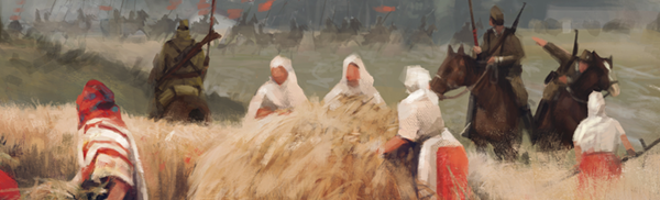 A few people in hooded white, standing near a hay bale approached by brown clad soldier figures on horseback. This is a still from the cover of the board game Scythe.