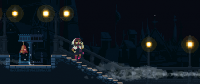 a figure in red boots and a hoodie walking down a set of steps to the right. this is a still pixel art image.