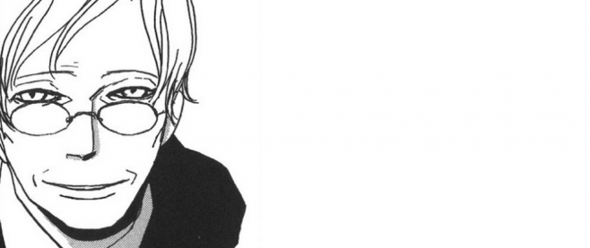 A line drawing of a man with light colored hair and a dark shirt, leaning forward intently. This is art from the romantic manga Ristorante Paradiso