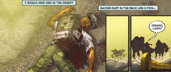 "A man lying, bleeding out on the ground. Above him a text box reads ""I should have died in the desert, shot in the back like a fool"" This is a screen of the comic Bankshot #2"