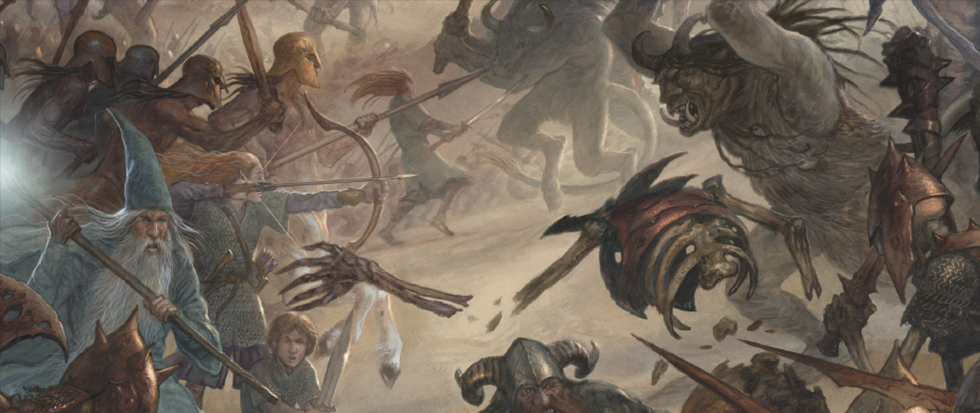 A menagerie of Tolkien-esque figures, including wizards and trolls and halflings do battle across a muted brown landscape. This is the cover art from the board game Ethnos.
