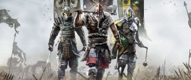 Three warriors walking towards the camera. This is promotional material for For Honor.