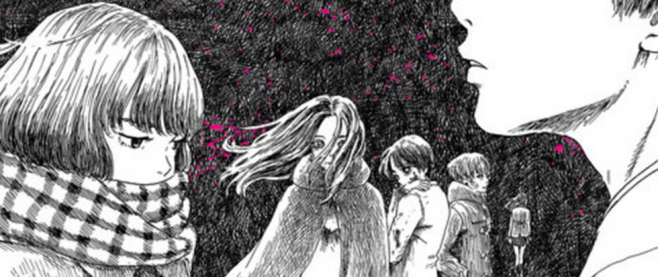 Five women standing near each other, their faces mostly concealed. This is a slip from the cover of Happiness Volume 5.